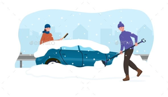 Male and Female Characters Cleaning Car From Snow
