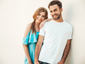 Portrait of handsome man and his girlfriend posing outdoors - PhotoDune Item for Sale