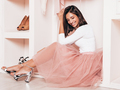 Portrait of young beautiful brunette woman posing in pink wardrobe - PhotoDune Item for Sale
