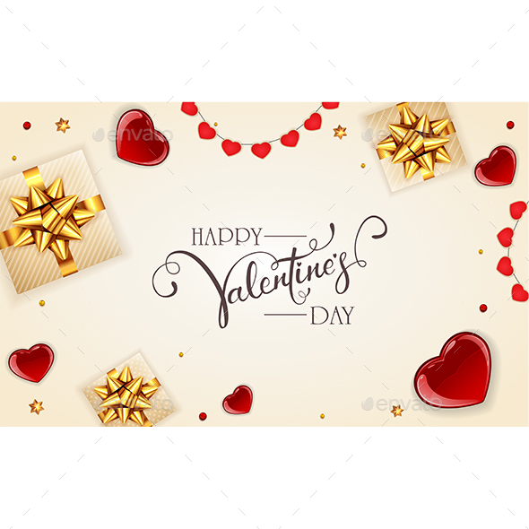 Decorations with Gifts and Hearts on White Valentines Background