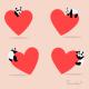 Cute Pandas heart Love Vector Icon Cartoon - GraphicRiver Item for Sale