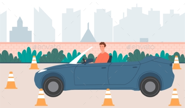 Male Character in Convertable Car Practicing a