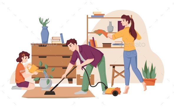 Housework Family Cleans House Vacuuming Tidy Up