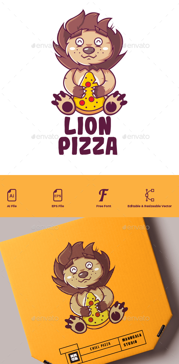 The Lion Pizza Cartoon Logo