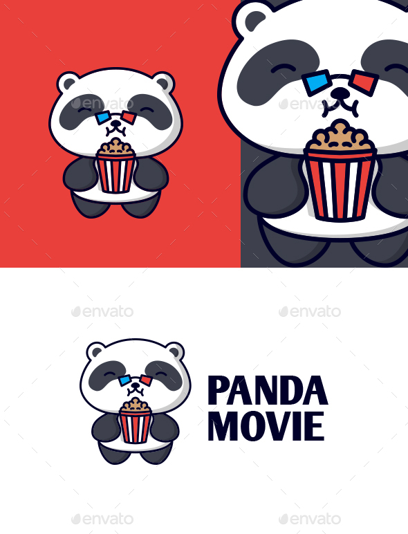 Cartoon Panda Movie Character Mascot Logo