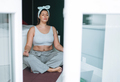 Beautiful happy emotional brunette young woman plus size body positive in sport wear doing yoga - PhotoDune Item for Sale