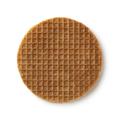 Single traditional Dutch syrup waffle close up isolated on white background - PhotoDune Item for Sale