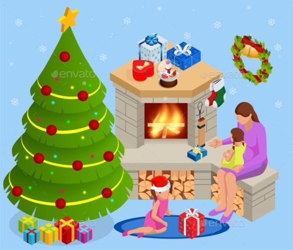 Isometric Interior Christmas