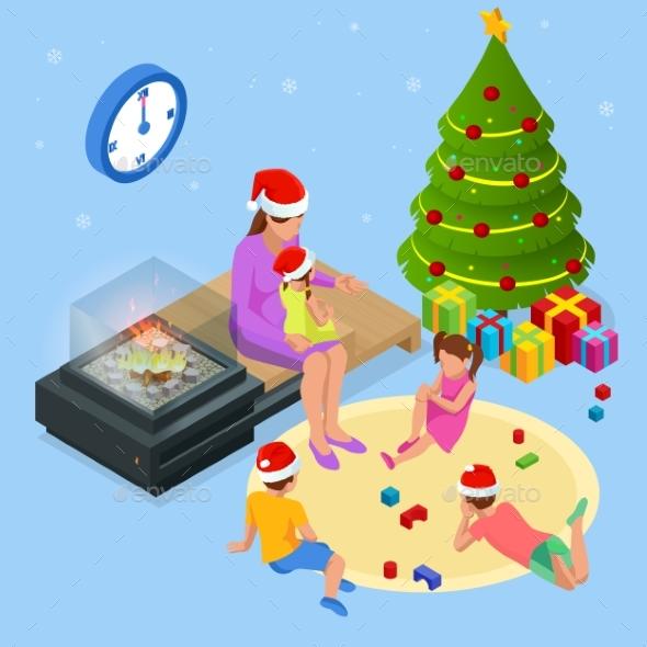 Isometric Merry Christmas Happy Family Concept