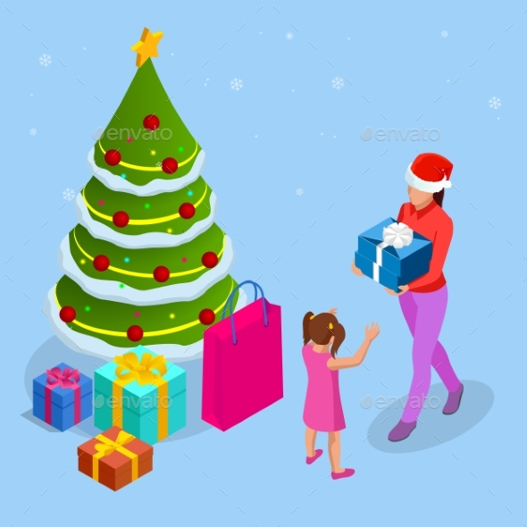 Isometric Merry Christmas Happy Family