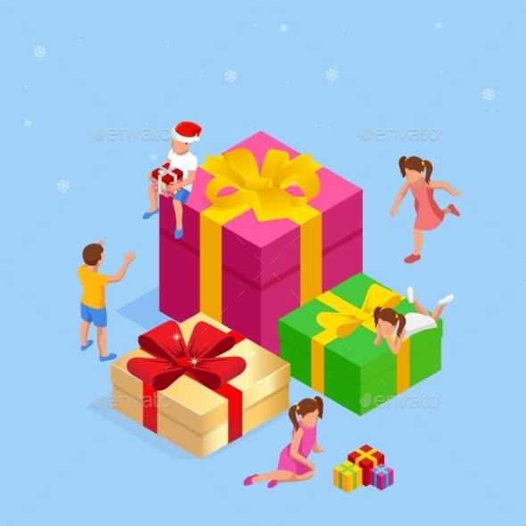 Isometric Children Near Big Presents for Christmas