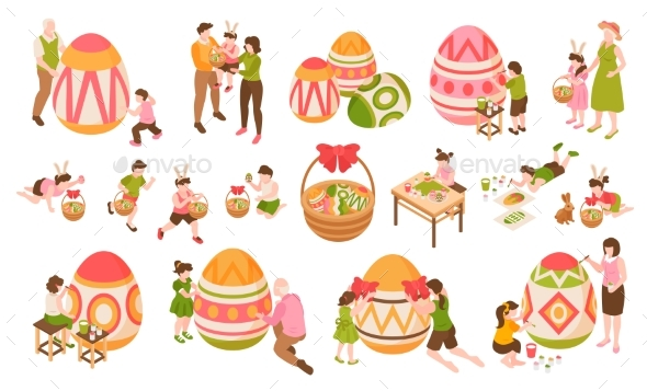 Easter Isometric Color Icons Set