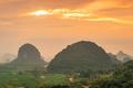 Guilin, China Karst Mountain landscape at Dusk - PhotoDune Item for Sale