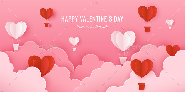 Happy Valentines Day Card with Paper Sky