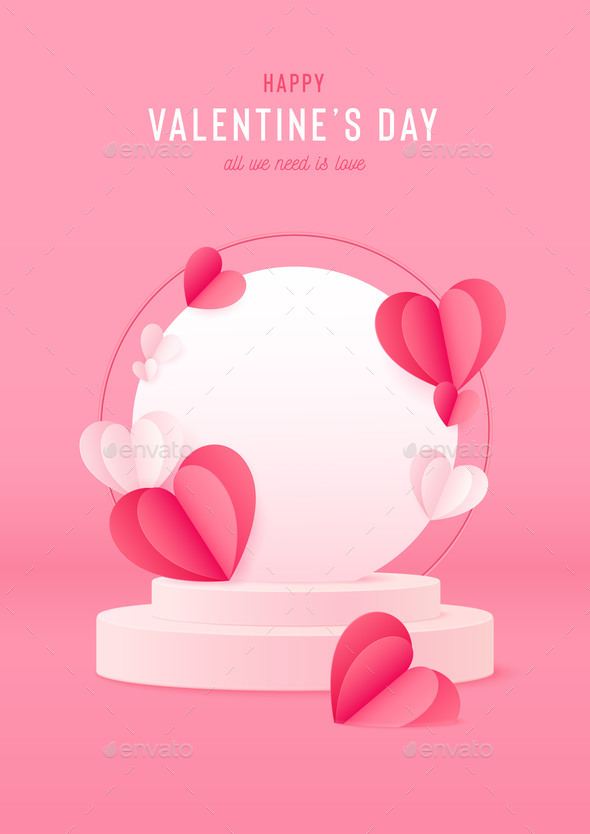 Happy Valentines Day Card with Podium Stage and