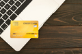 Credit card on a laptop keyboard_ - PhotoDune Item for Sale