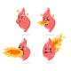 Stomach Heartburn Vector Cartoon Character Set. - GraphicRiver Item for Sale