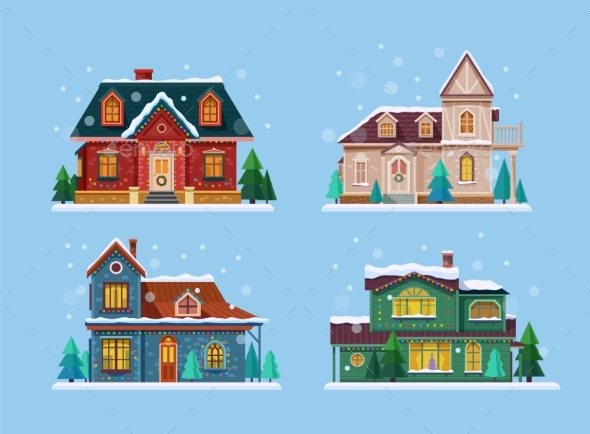 Buildings or Houses Set Decorated Vector