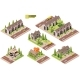 Vector Isometric Buildings Suburban Houses - GraphicRiver Item for Sale