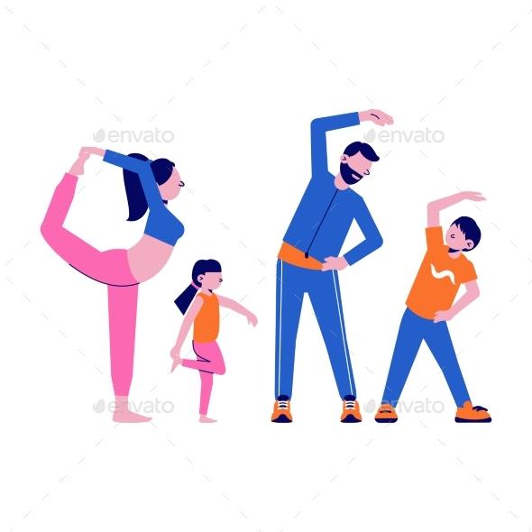 Family Sport Illustration