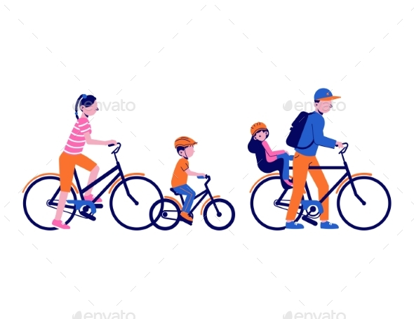 Family Cycling Illustration