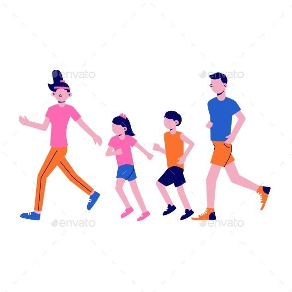 Family Fitness Illustration