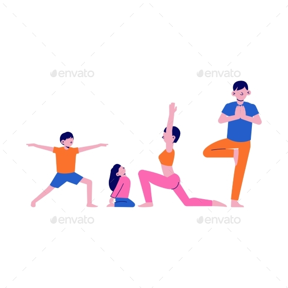 Family Yoga Illustration