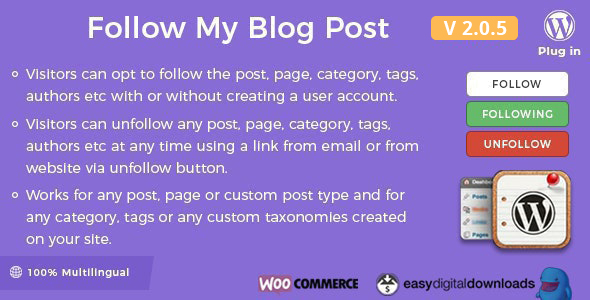 Follow My Blog Post - WordPress / WooCommerce Plugin