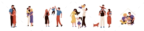 Happy Family Set Vector Illustration
