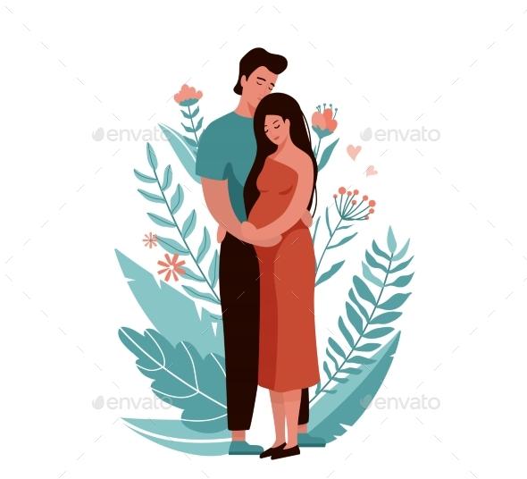 Man Hugging and Kissing Pregnant Woman