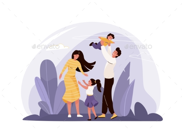 Happy Family Vector Illustration with Plants Sky