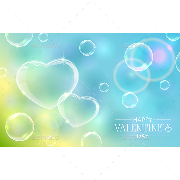Valentines Hearts with Bubbles on Sky Background