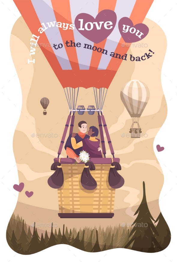 Valentines Day Card Flat Poster