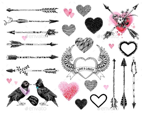 Valentine Day Collection with Hearts and Arrows