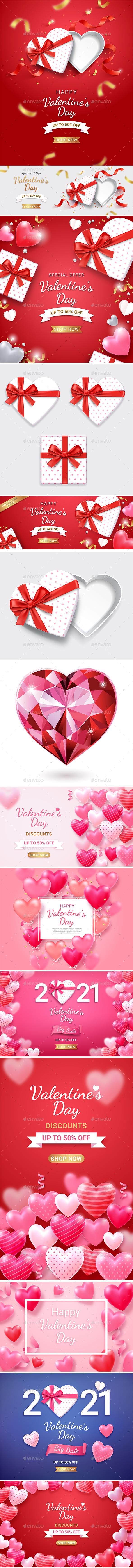 Set of Valentine Day Background