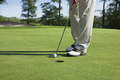 Golfer taps in a putt on a golf green - PhotoDune Item for Sale