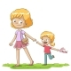 Mother And Daughter Walking - GraphicRiver Item for Sale