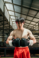 Portrait of professional male boxer against boxing training ground background - PhotoDune Item for Sale