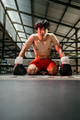 boxer in boxing gloves defeated boxer sits on the floor - PhotoDune Item for Sale