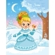 Princess in a Cartoon Style in Snow Forest - GraphicRiver Item for Sale