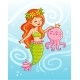 Mermaid Holds an Octopus Underwater - GraphicRiver Item for Sale