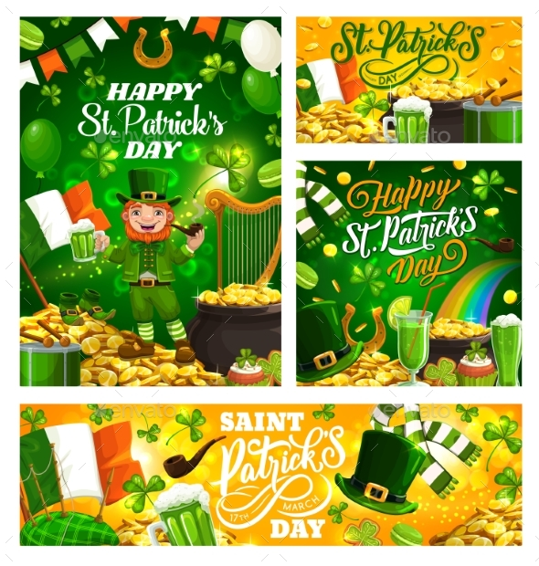 Patricks Day Spring Holiday Symbols and Lettering