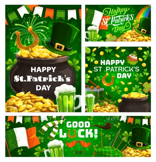 Irish Holiday Patricks Day Green Symbols Drinks