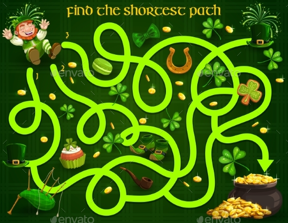 Kids Maze Game with St Patrick Day Characters