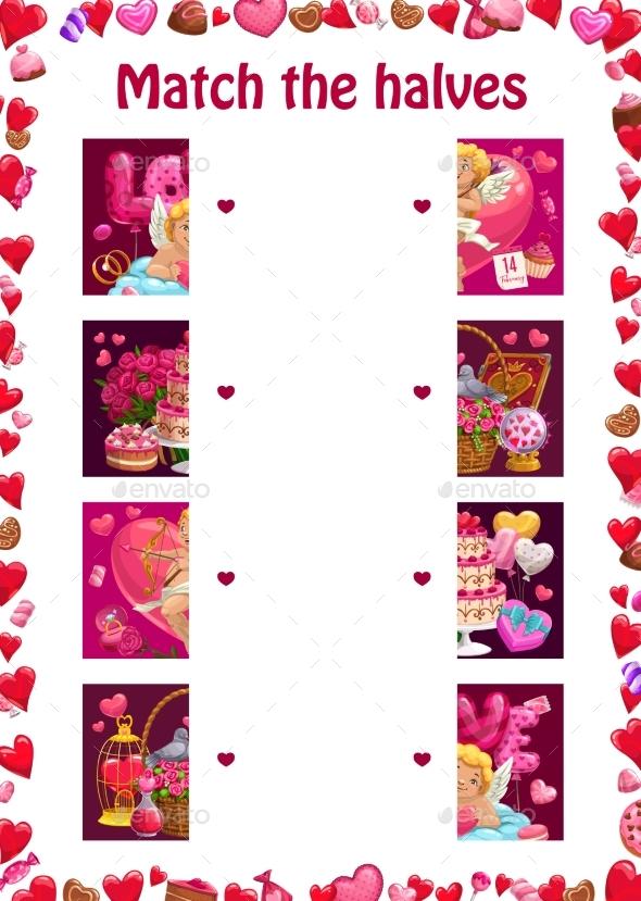 Match the Halves Kids Education Valentines Puzzle