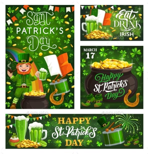 Patricks Day Spring Holiday Fest Leaflets on Green