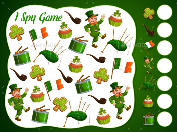 I Spy Kids Game with St Patrick Day Items Puzzle