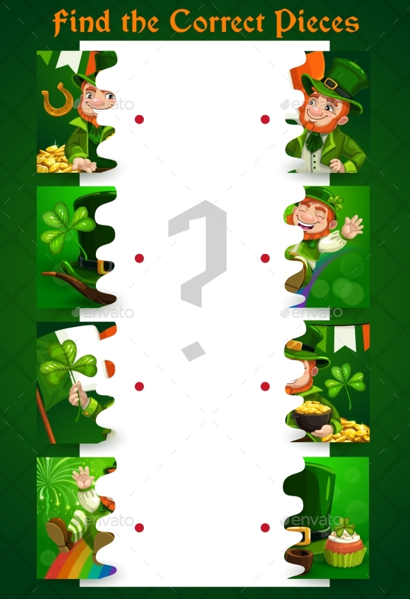 Match the Halves Puzzle with St Patricks Day Items