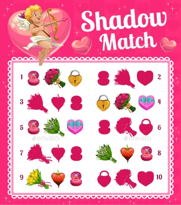 Kids Game Shadow Match with Valentine Cupid