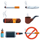 Cigar, Cigarette, Jamb, Wooden Pipe And Electronic Сigarette Vector Set - GraphicRiver Item for Sale